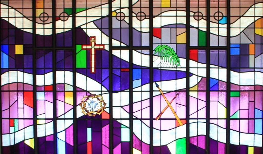 Zion Lutheran Corvallis Stained Glass Purple